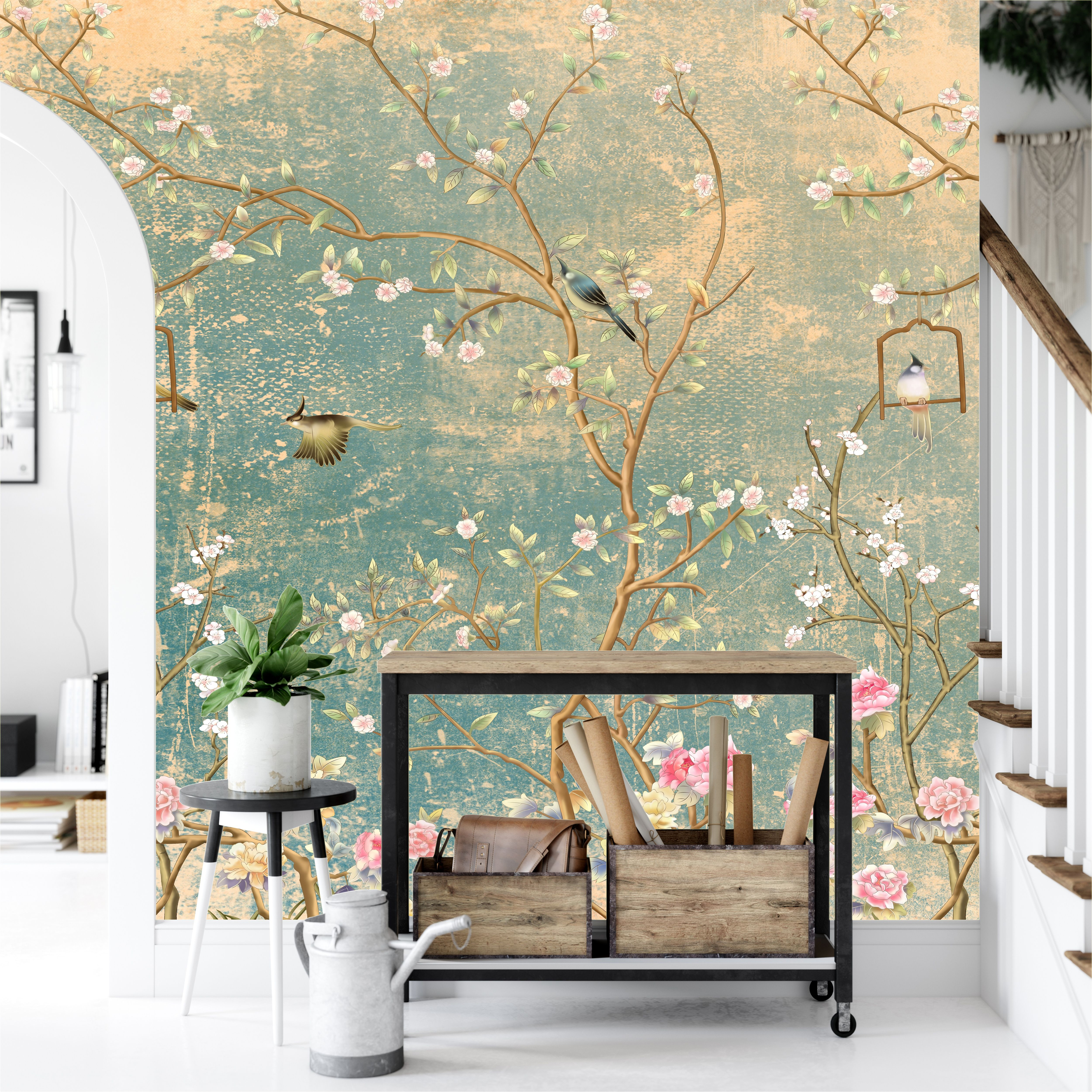 Vintage Florals On Grunge Wall Birds Green And Rose Sakura Etsy Peel And Stick Wallpaper Chinoiserie Wallpaper Removable Wallpaper