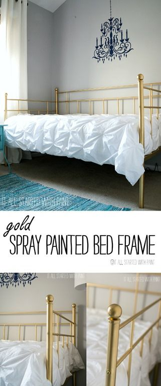 Gold Bed Frame Created With Spray Paint   Any Easy Way To Change The Look  Of Your Bed Frame