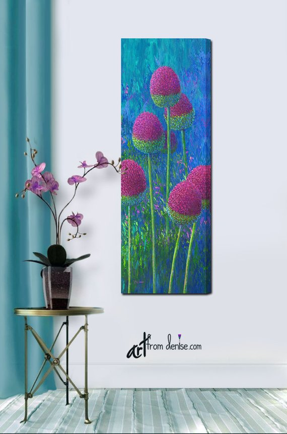 Any Size Tall Purple Flower Field Floral Canvas Wall Art Picture Large