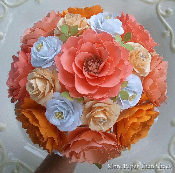 Handmade Paper Flower Wedding Bouquet - Colorful - Bride or Bridesmaid - Custom Made - Any Color