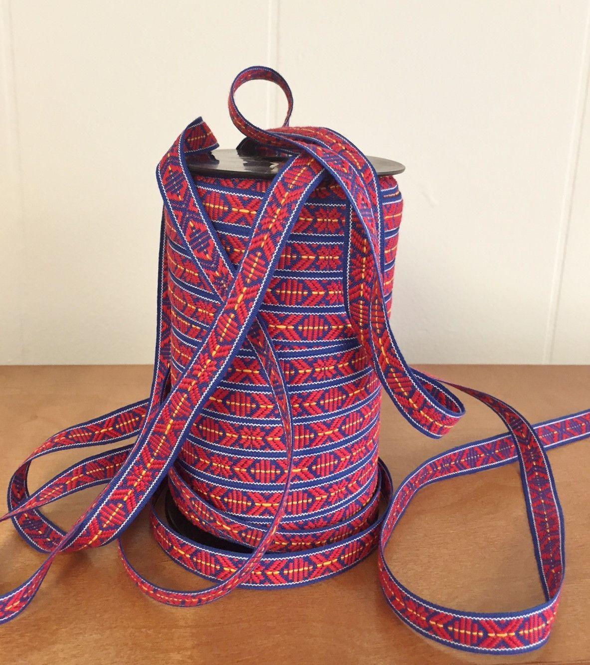 Scandinavian Ribbon Trim Folk Art Hand Woven Scandinavian Folk Art Hand Weaving Red And Blue