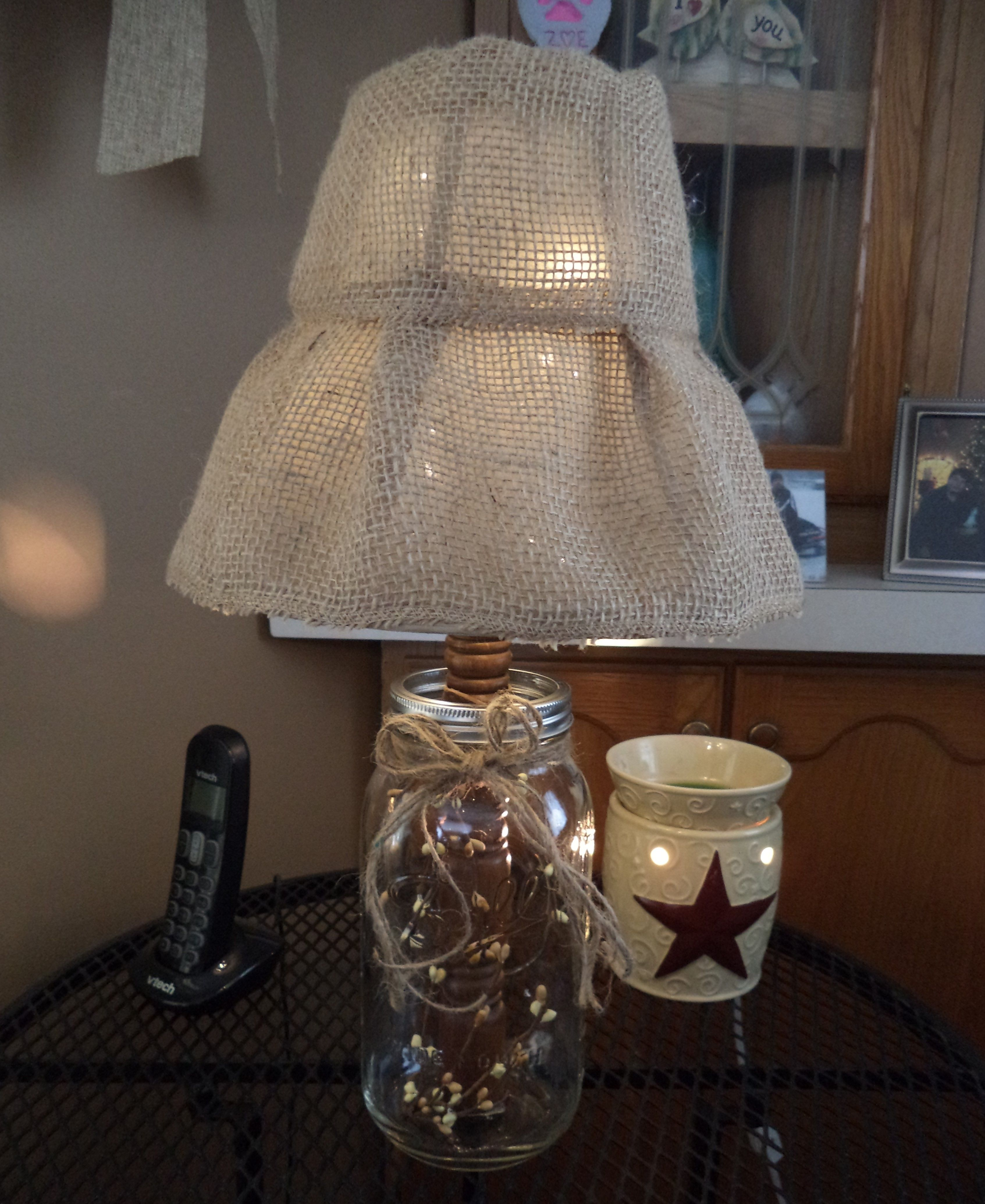Glass Jar Lamp Shade Mason Jar Lamp Large Ball Jar Wooden Dowel Burlap Covered Lamp