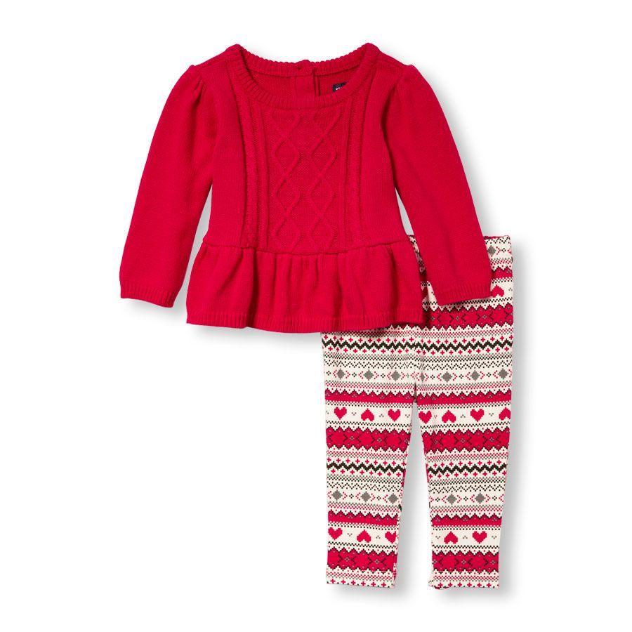 Baby Girls Long Sleeve Cable Ruffle Peplum Sweater And Heart Fair ...