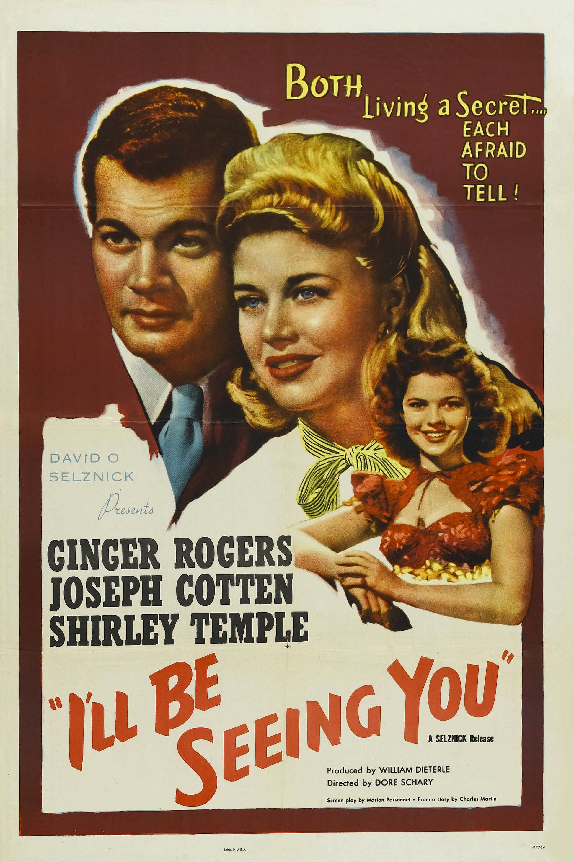 """""""I'll Be Seeing You"""" (1944). Country: United States. Director: William Dieterle, George Cukor. Cast: Ginger Rogers, Joseph Cotten, Shirley Temple"""