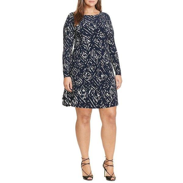 Lauren Ralph Lauren Plus Long-Sleeve Roundneck Dress ($149) ? liked on  Polyvore featuring plus size women\u0027s fashion, plus size clothing, plus size  dresses, ...