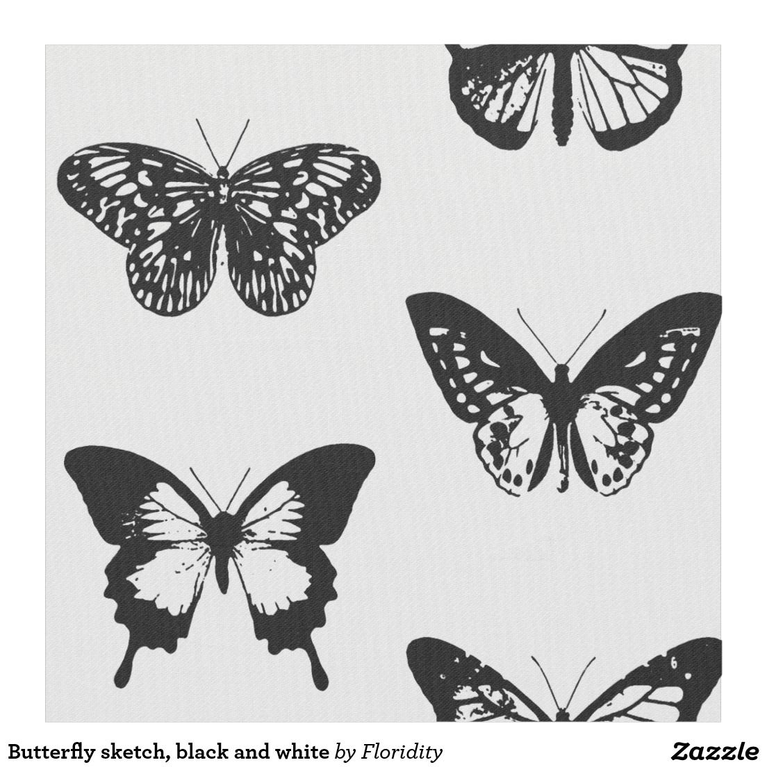 Butterfly Sketch Black And White Fabric White Butterfly Tattoo Butterfly Sketch Traditional Tattoo Black And White