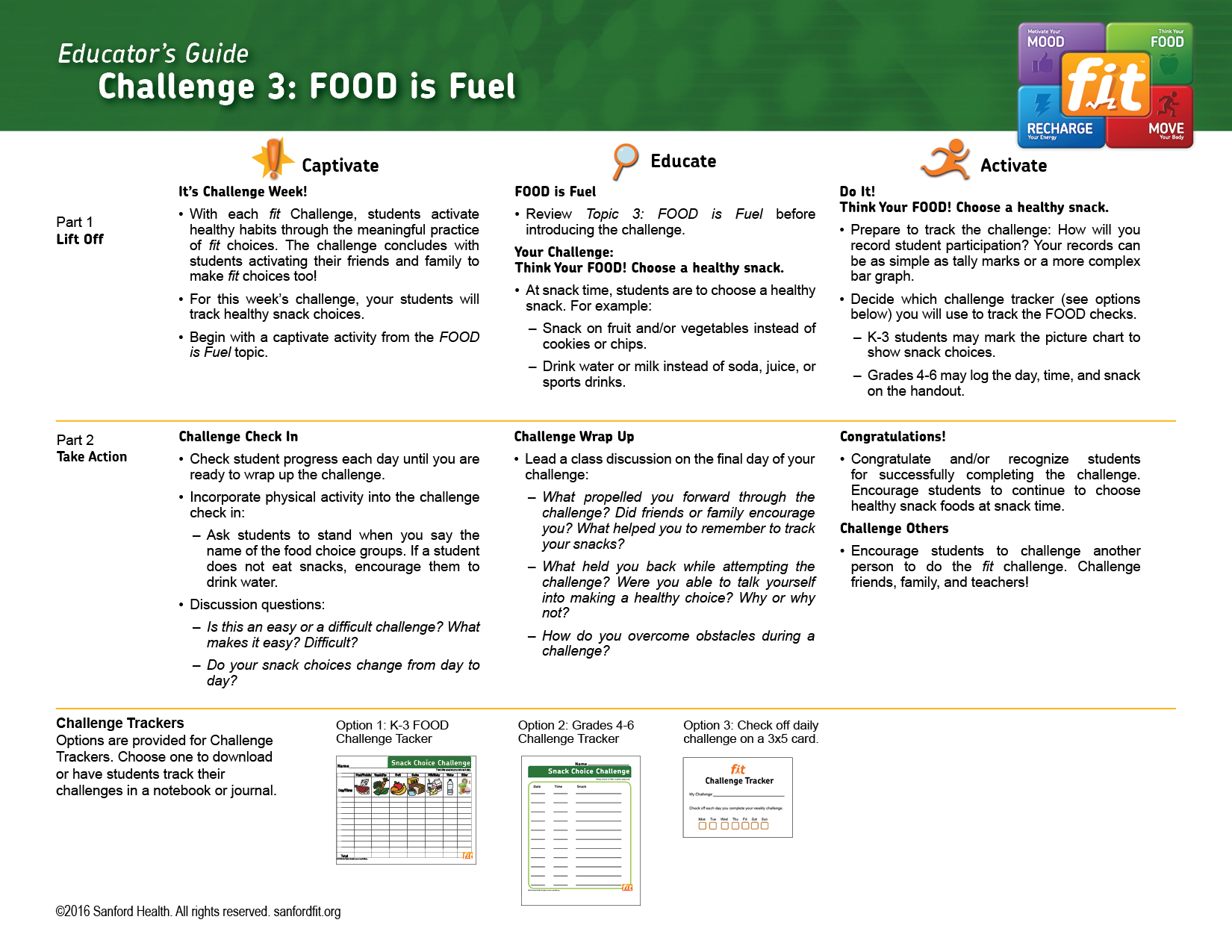 The FOOD is Fuel Challenge guide provides students and educators healthy  tasks.