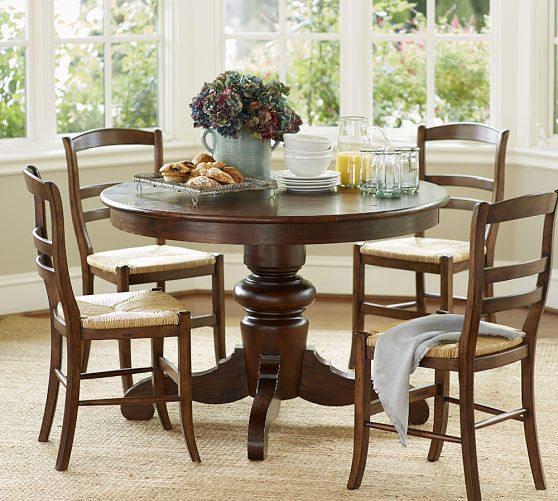 Tivoli Fixed Pedestal Dining Table Shabby Chic Round Dining