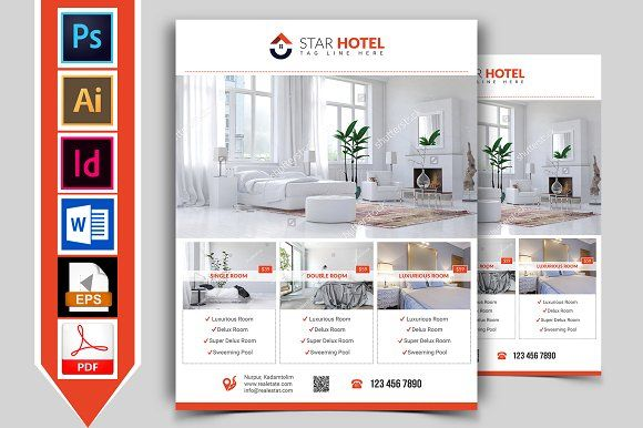 Hotel Flyer Template Vol  Flyer Template Template And