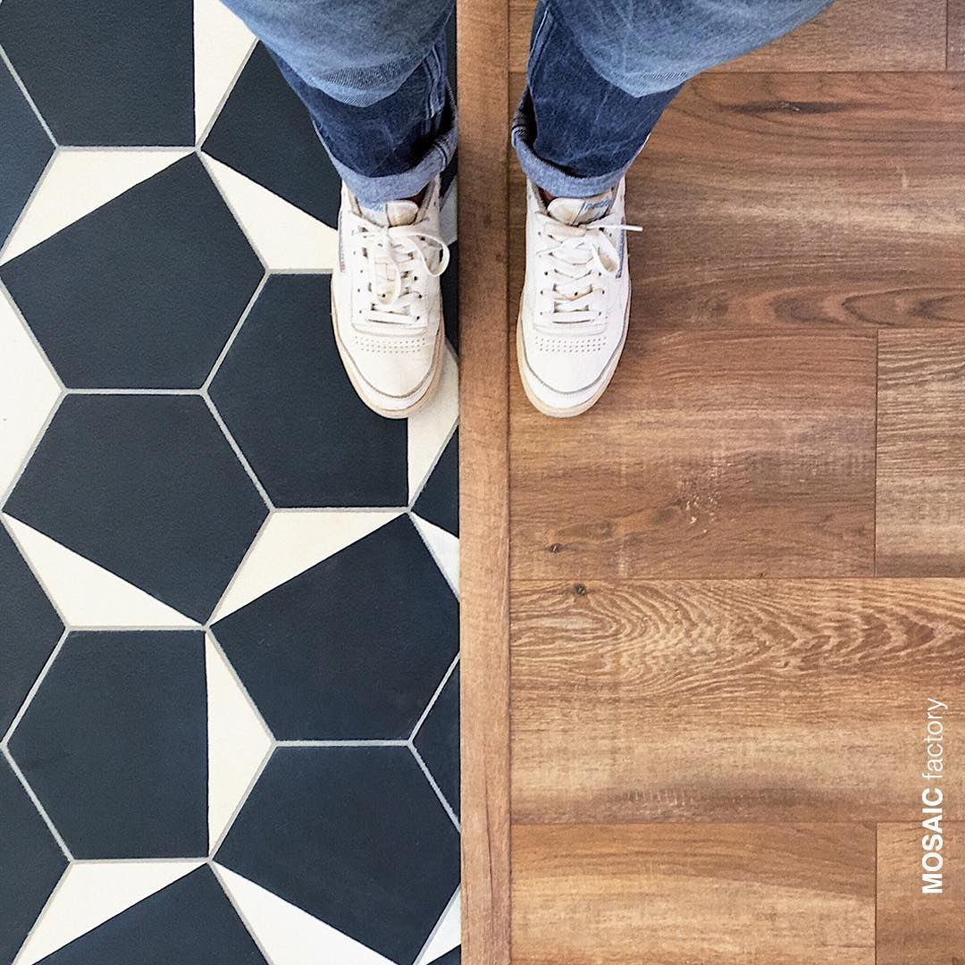 Beautiful Floor Transition With Blue And White Hexagonal Cement