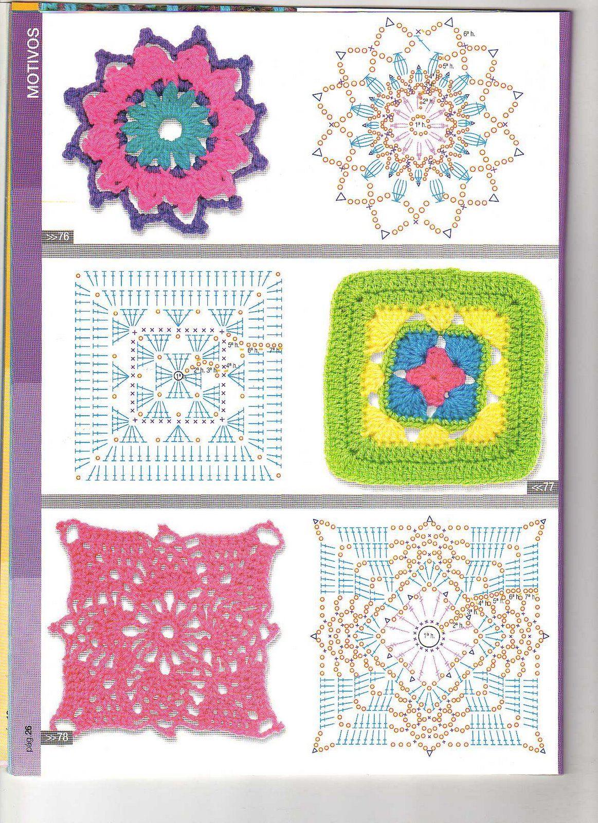 Patrones crochet patron crochet manta cuadrados cuadros - Patrones de mantas a crochet ...