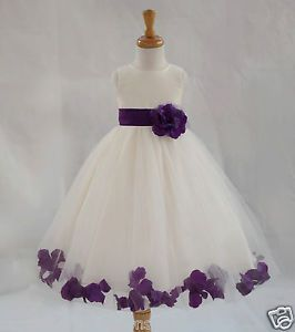 Ivory flower girl dress pageant wedding bridesmaid dance party 12 ...