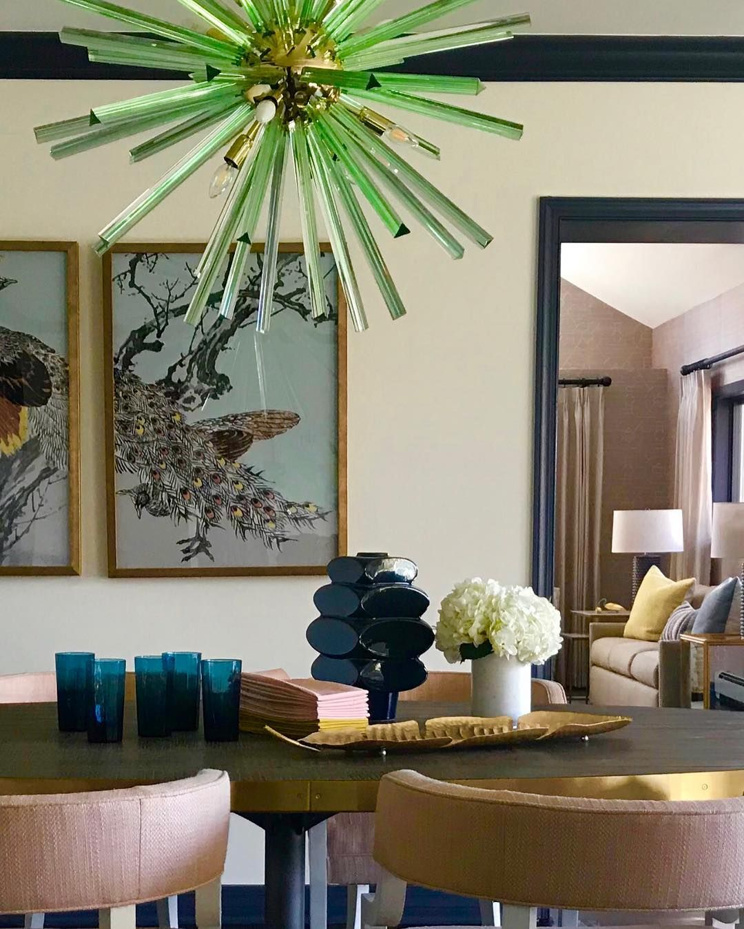 Andrea schumacher interiors on instagram  cat our photo shoot yesterday this great vignette captures the stunning greenchandelier  we also rh pinterest