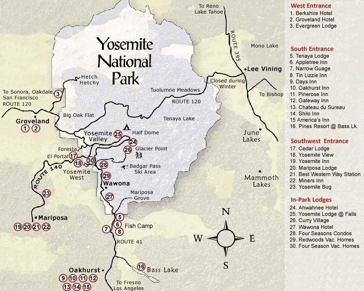 Yosemite National Park Map See map details From www ... | Cali ...