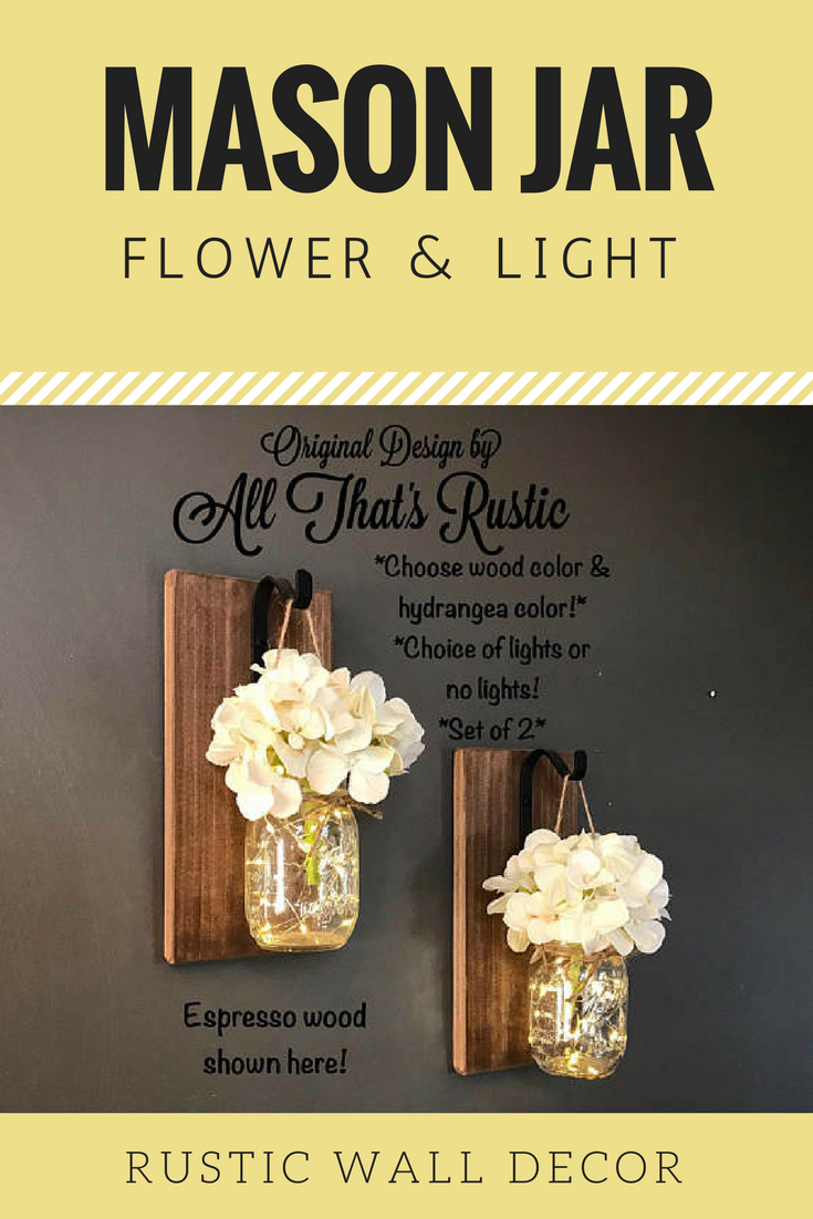 Mason jar flower light wall decor, Maosn jar home decor, Mason jar ...