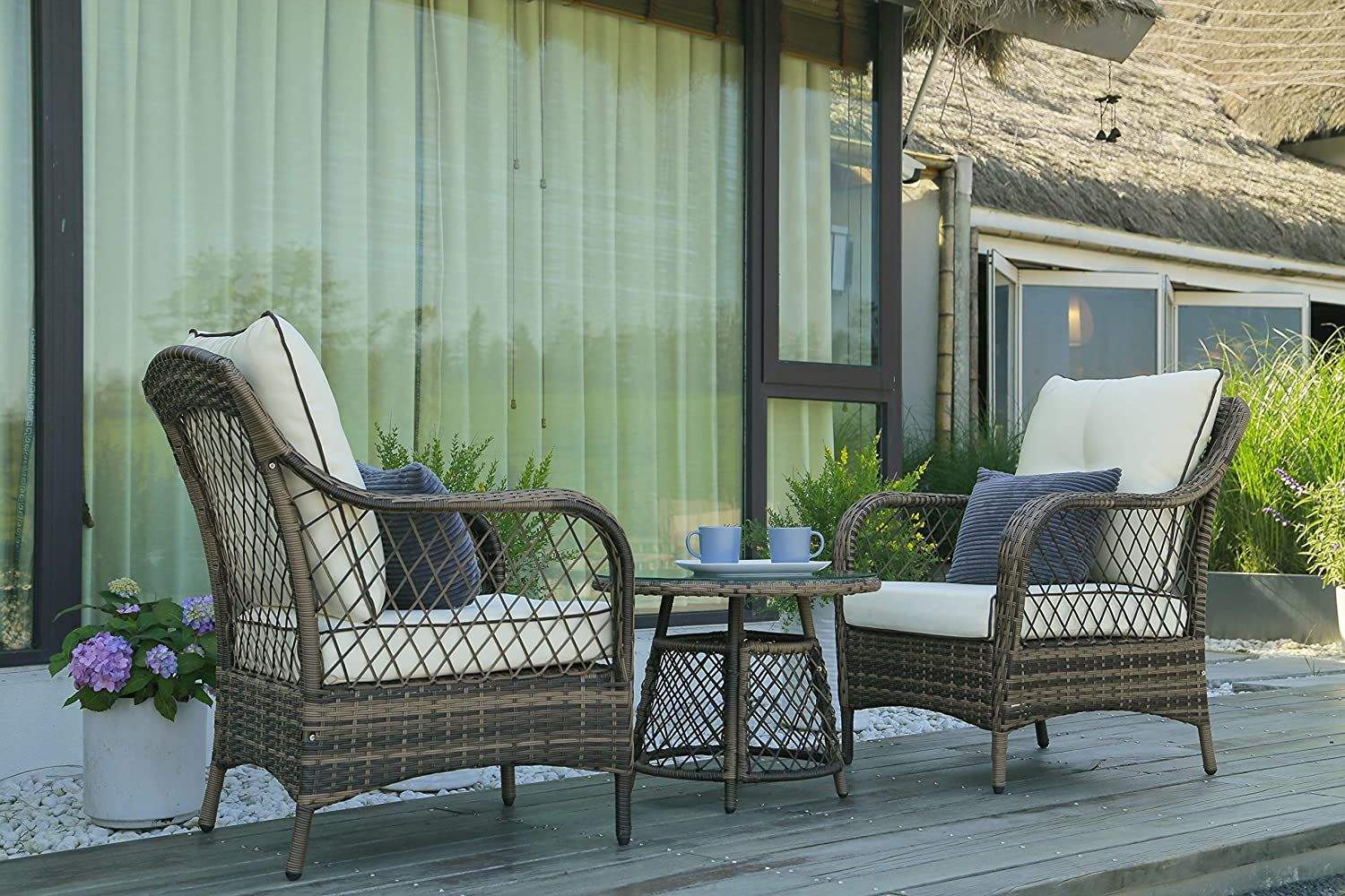 Beige Conversation Chairs Bistro Sets W Table In 2021 Outdoor Wicker Chairs Outdoor Patio Furniture Wicker Patio Set