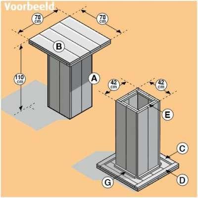 Steigerhout bouwtekening voor een hoge tafel plaatsen for Bouwtekening tafel