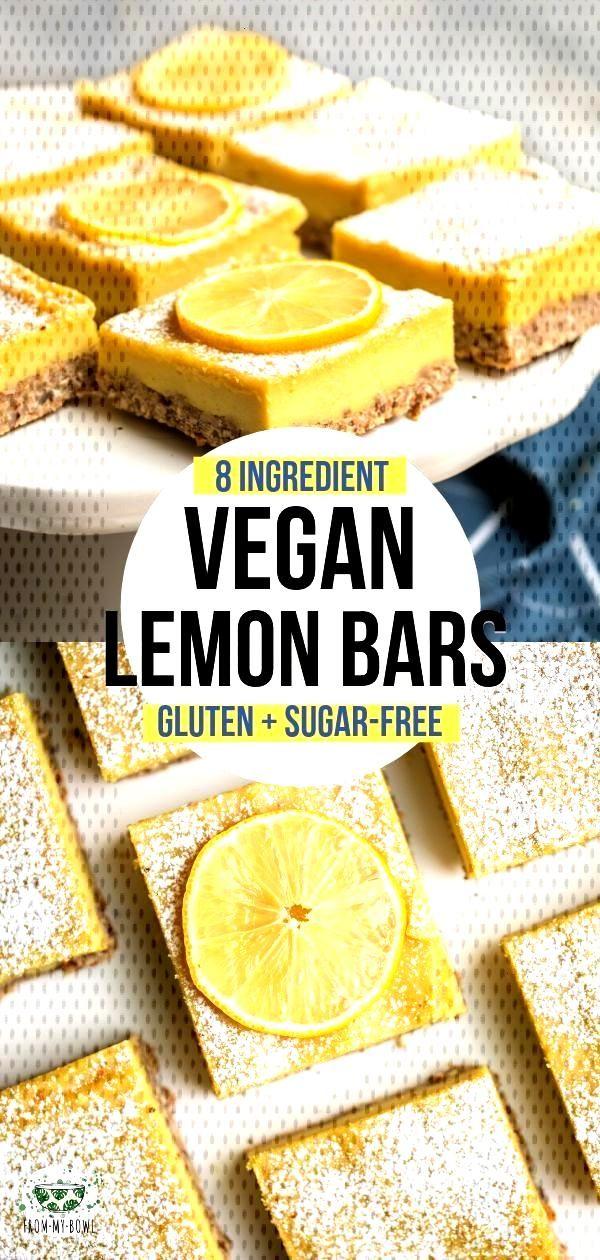 Vegan Lemon Bars (Gluten Free + 9 Ingredients!) - From My Bowl These Vegan Lemon Bars are a refresh