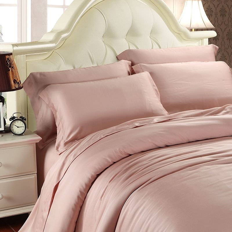 Pale Pink Plain Color Simply Chic Noble Excellence Luxury Western Style Girls Soft 100 Tencel 4 Pieces Full Queen Size Bedding Sets Bedding Sets Luxury Bedding Rose Gold Duvet Cover