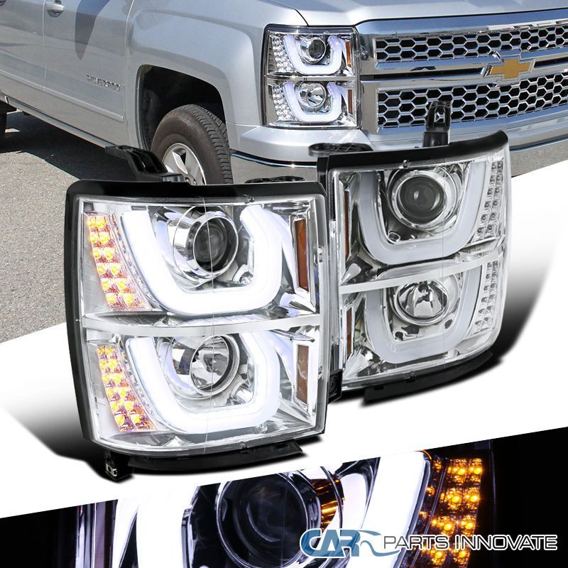 Details About For Chevy 14 15 Silverado 1500 Clear Halo Projector Headlights Led Signal Lamps Chevy Silverado 1500 Silverado 1500 Projector Headlights