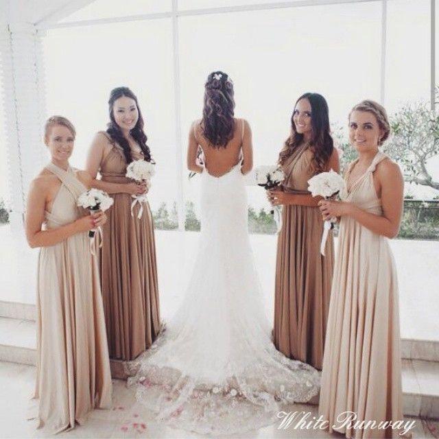 Beige bridesmaids dresses