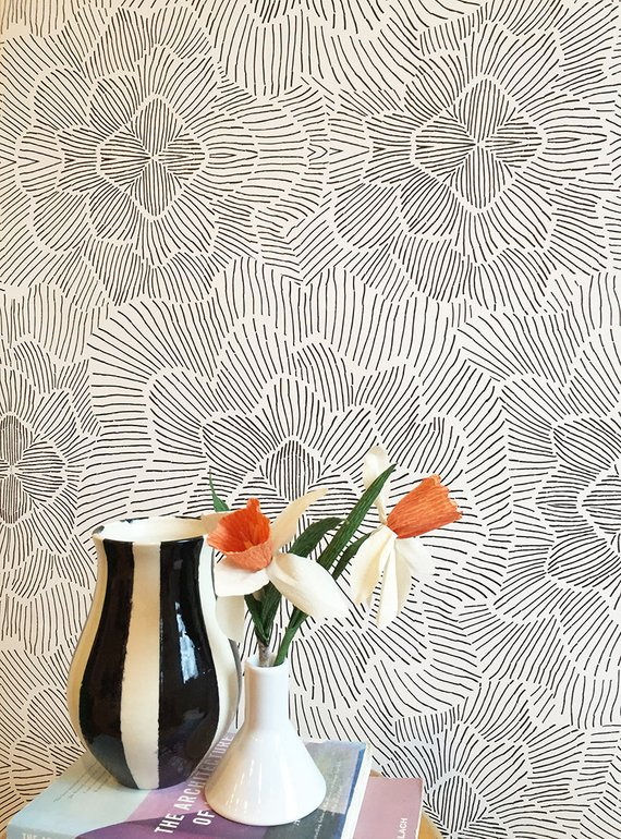 Removable Wallpaper Pinstripe Floral Black And White Etsy Peelable Wallpaper Black And White Wallpaper Removable Wallpaper