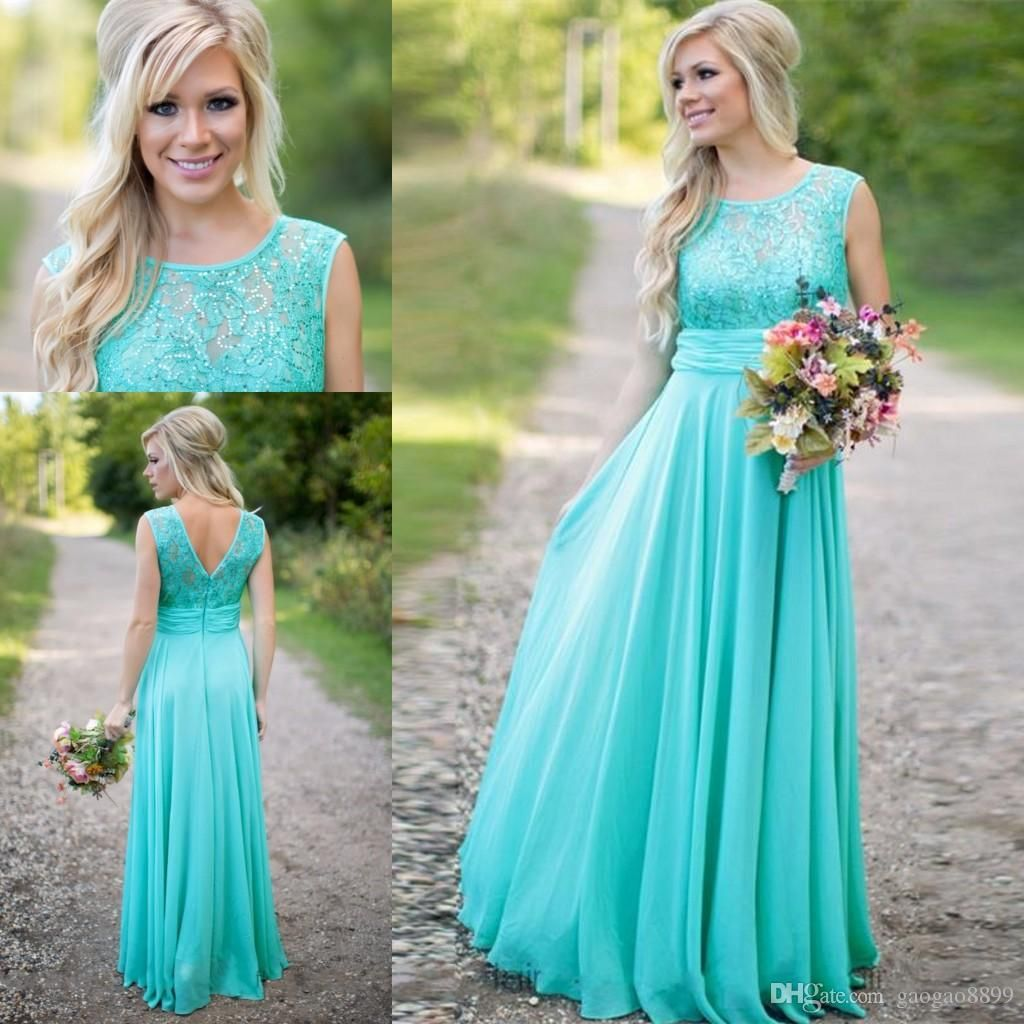 Aqua turquoise country bohemian lace long sheer bridesmaid dresses