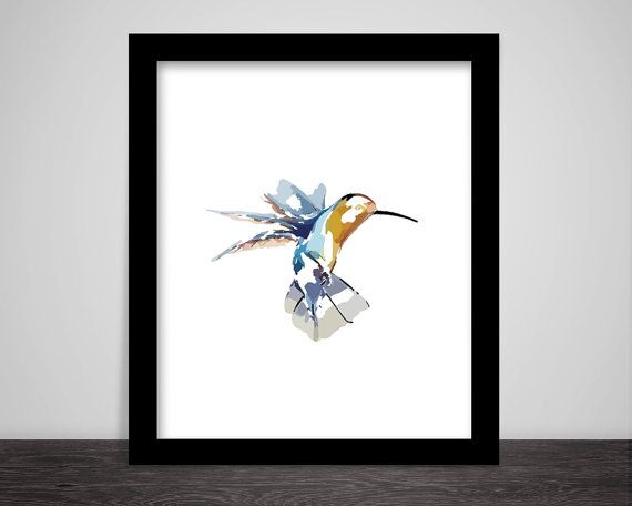 Water Colour Art Hummingbird by DigitalArtPrintables on Etsy