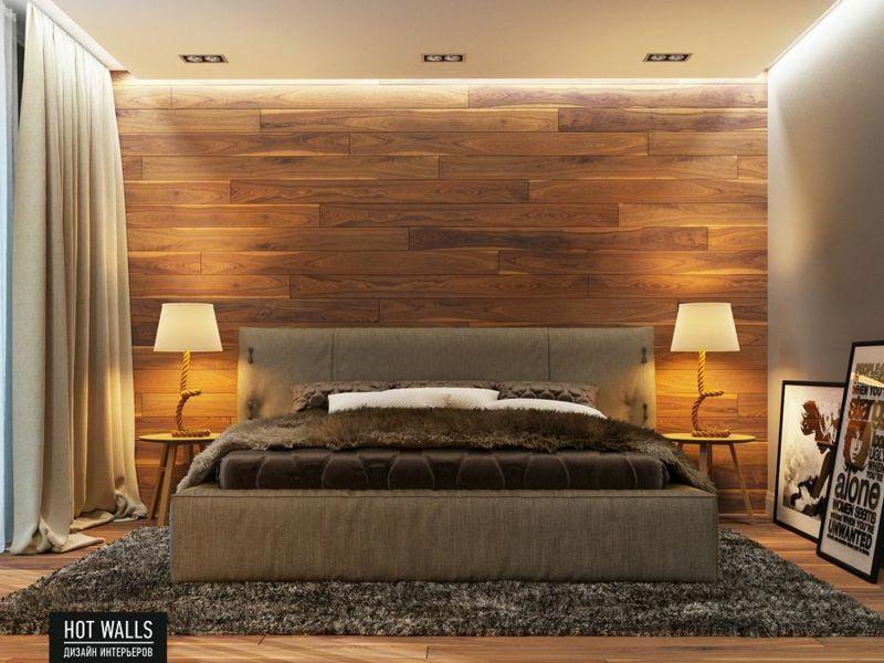 Einrichtungsbeispiele Schlafzimmer Ideen Wand Holz Log Cabin