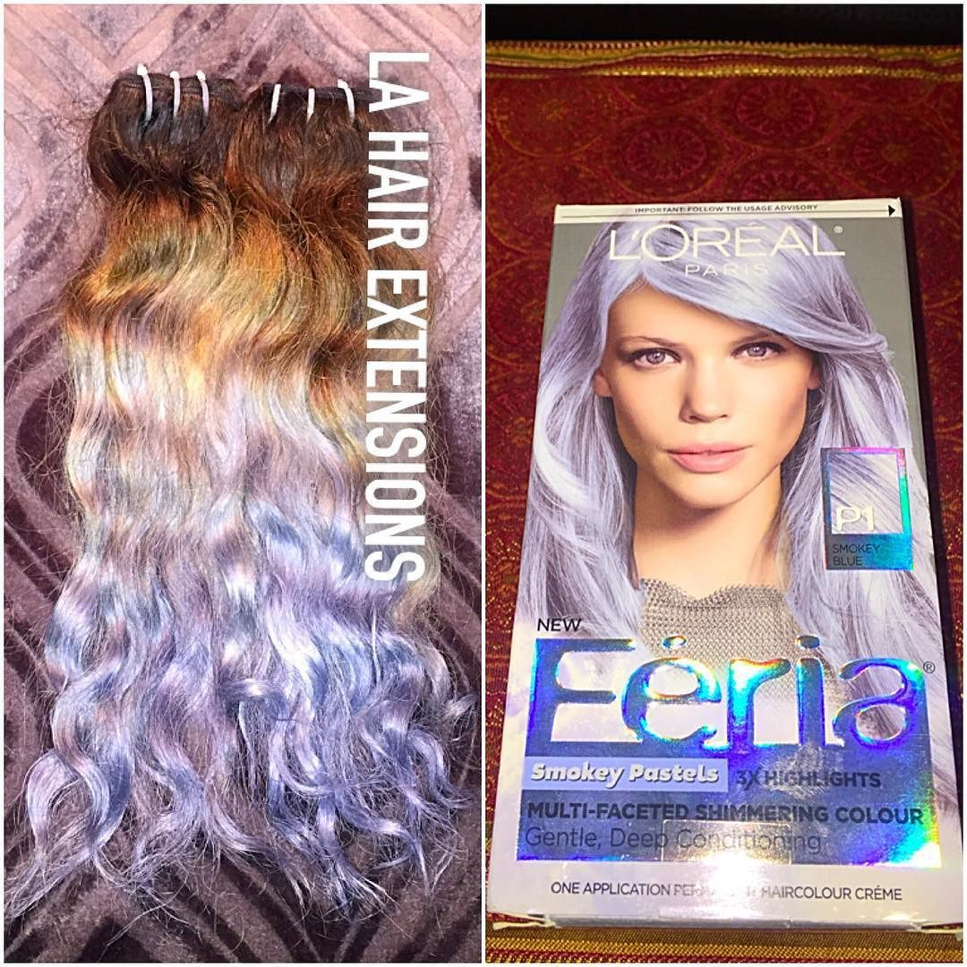 The look at home using l oreal paris feria smokey pastels in p2 smokey - I Lifted My Extensions From Lahairexts Using Schwarzkopfusa Blondme To A Level 10 And Lorealparisusa Feria Smokey Pastels Smokey Blue The Color Is