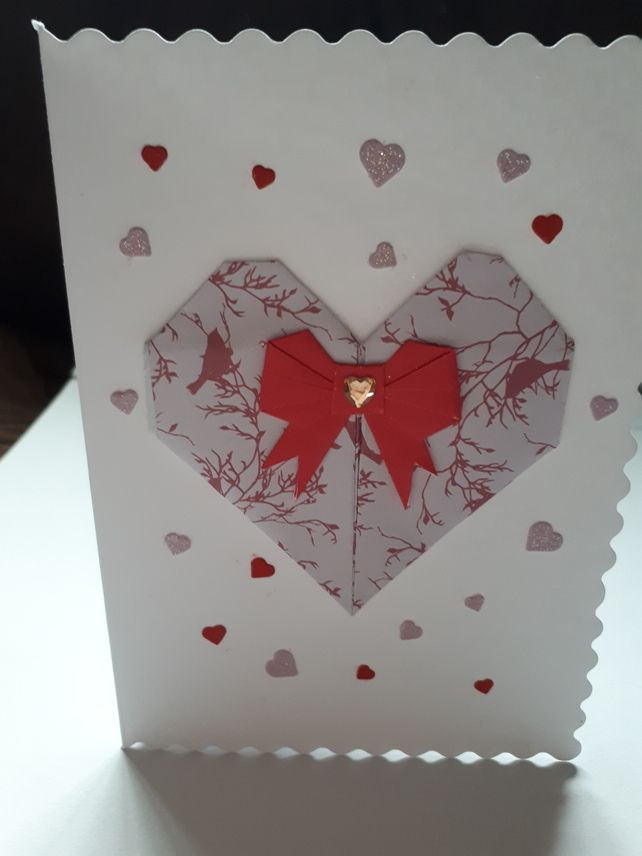 origami heart card with bow  origami design origami