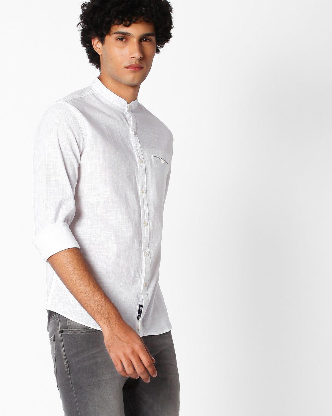 1275ba5627 Buy White NETPLAY Cotton Shirt with Band Collar | AJIO | Menshirts ...