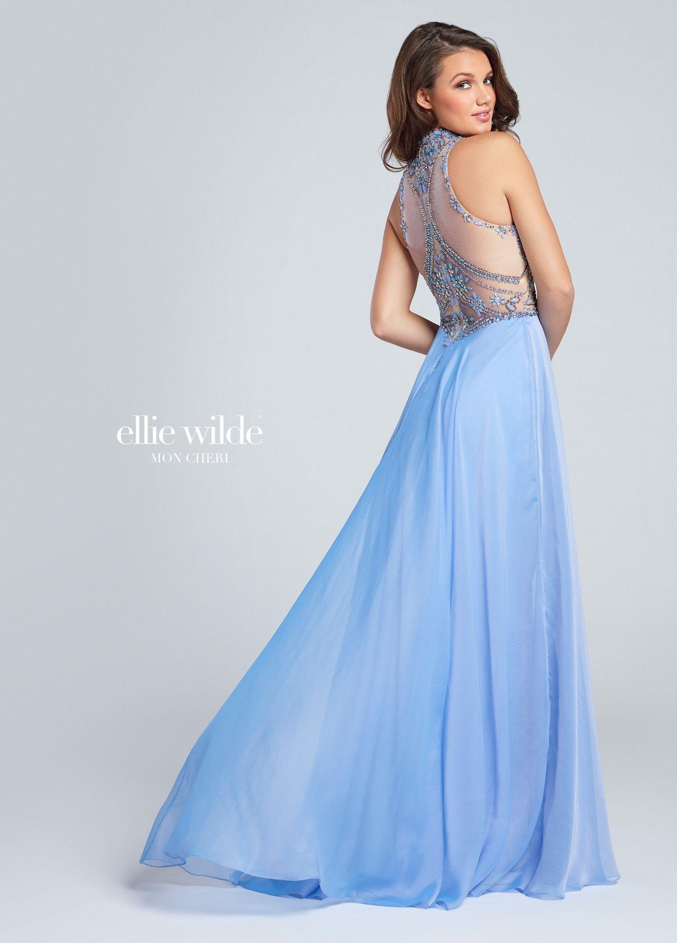Ellie Wilde 117075 Periwinkle Beaded Illusion Back Chiffon Prom