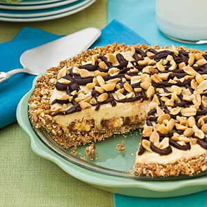 Candy Bar Cheesecake Pie... the pretzel crust is amazing, although I recommend using a little less butter in the crust than the recipe calls for.  Deee-lish!