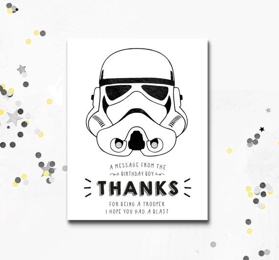 Stormtrooper Thank You Card Star Wars Printable Card Darth Etsy In 2020 Star Wars Party Star Wars Birthday Party Birthday Invitations Girl