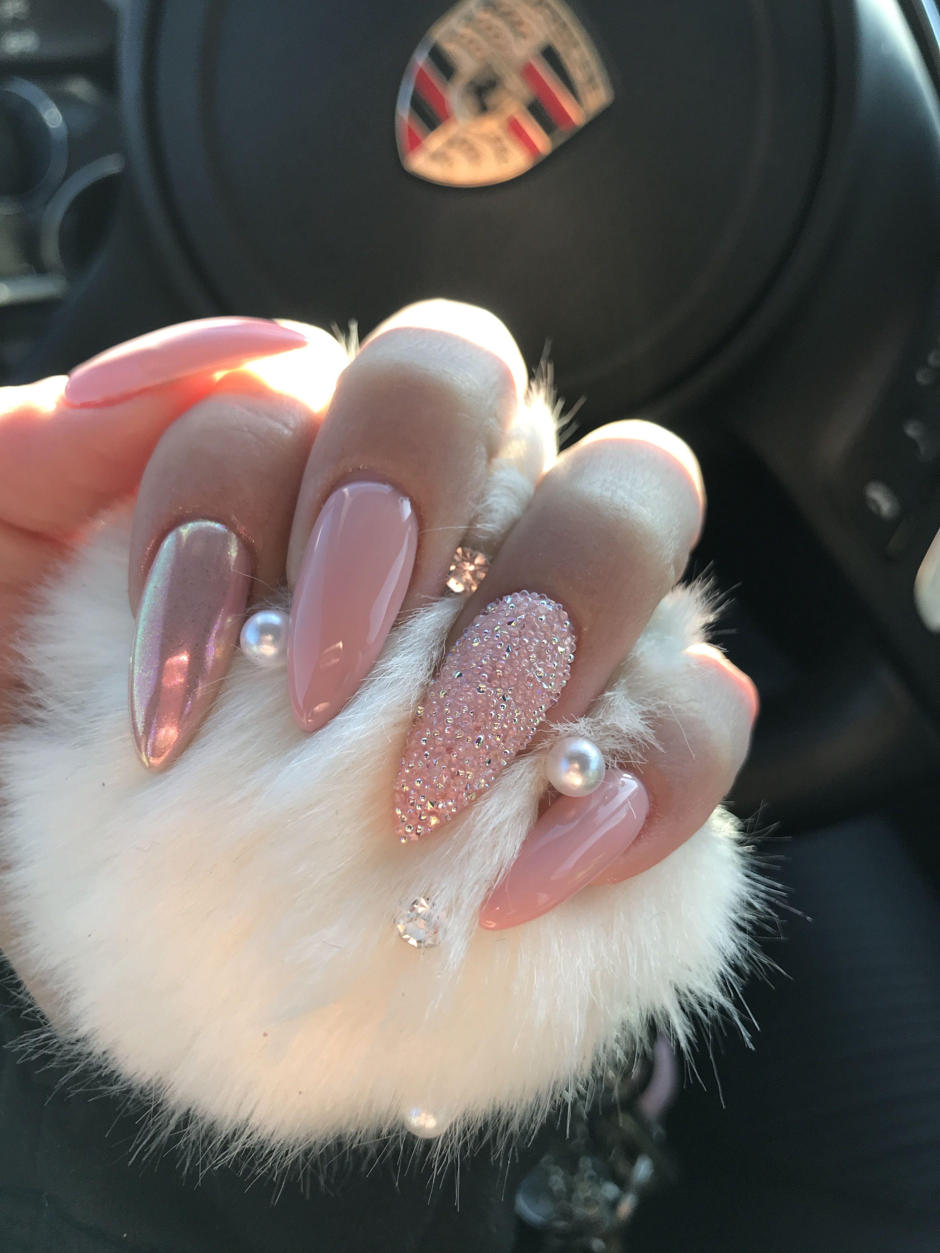 Swarovski crystals Stiletto nails Baby pink nails Long nails Chrome ...