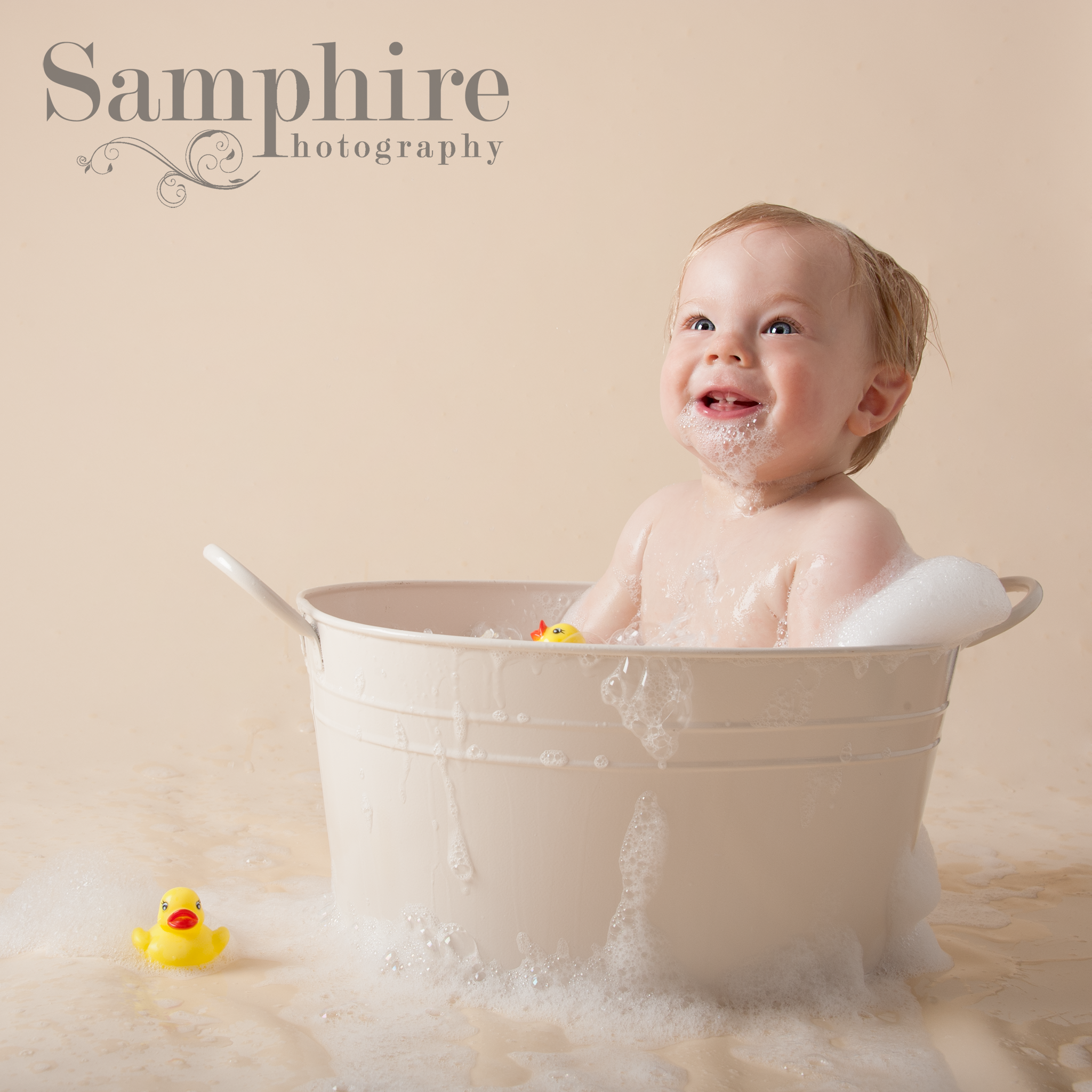 Birthday Photography Tips And Tricks: Cake Smash First Birthday Boy Clean Up Rubber Ducks