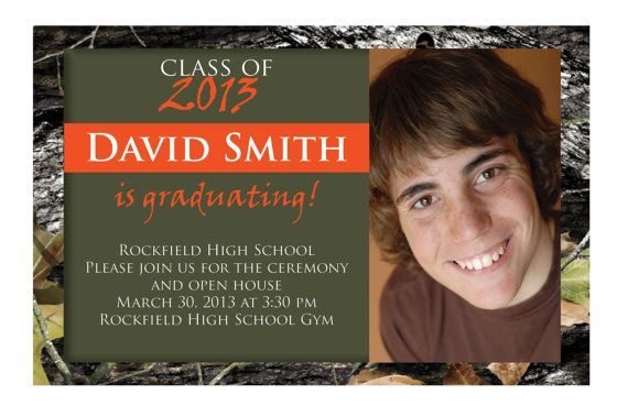 set of 50 YOUR PICTURE Mossy Camo graduation invitations