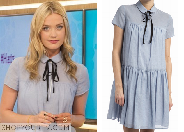 Laura Whitmore wears this blue peterpan collar tie dress in this episode of  This Morning on June 3 It is the [.
