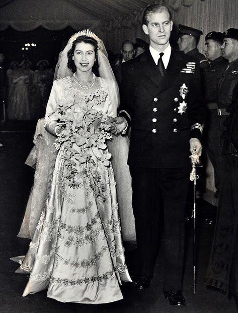 Queen Elizabeth on her wedding day.