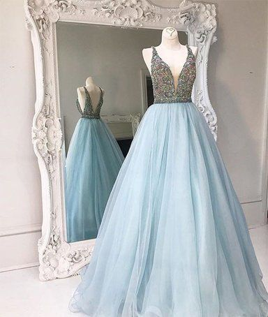 9f344ca3217 Unique light blue v neck sequin beading long prom gown