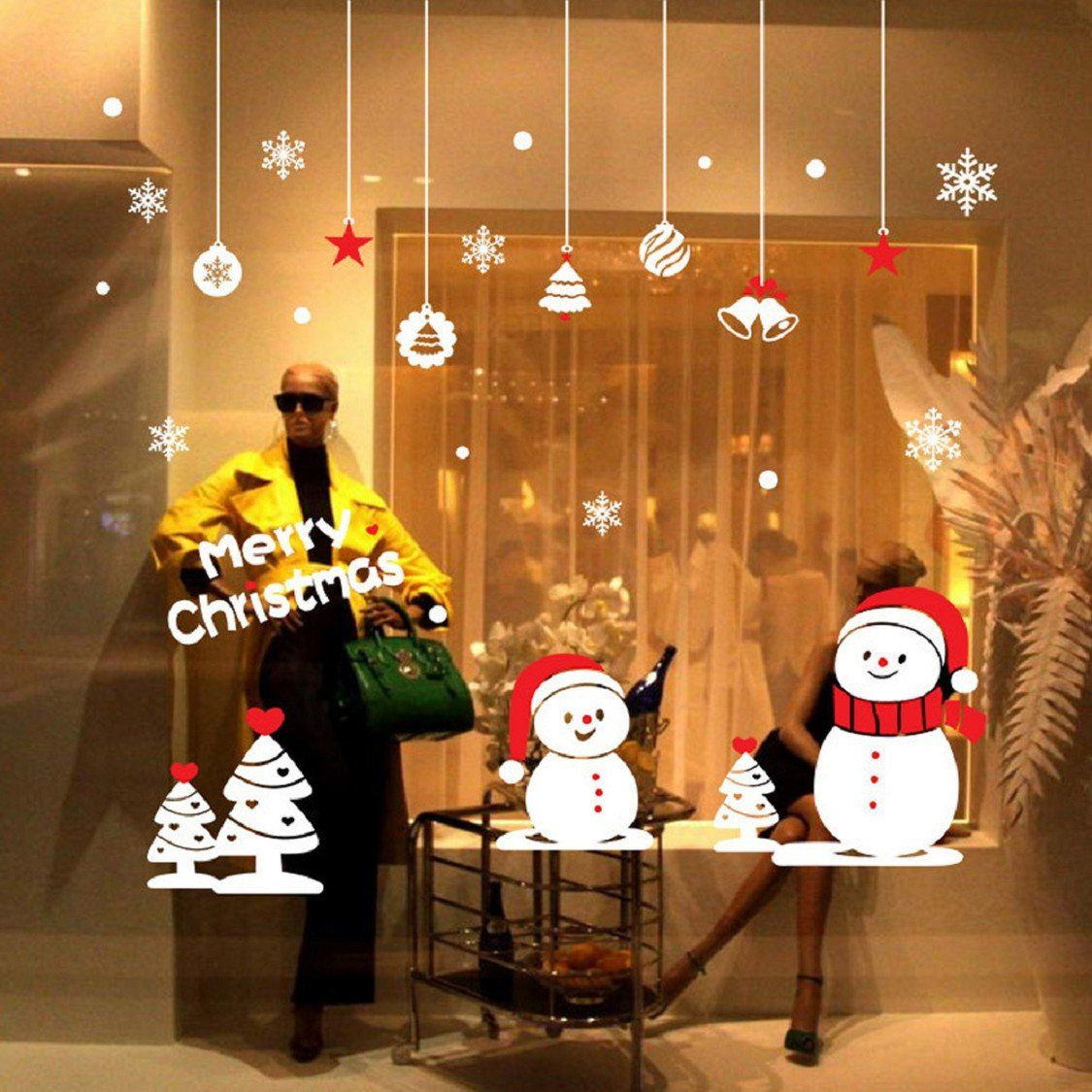 Removable Office Home Vinyl Window Wall Stickers Decor Decals Christmas Snowman