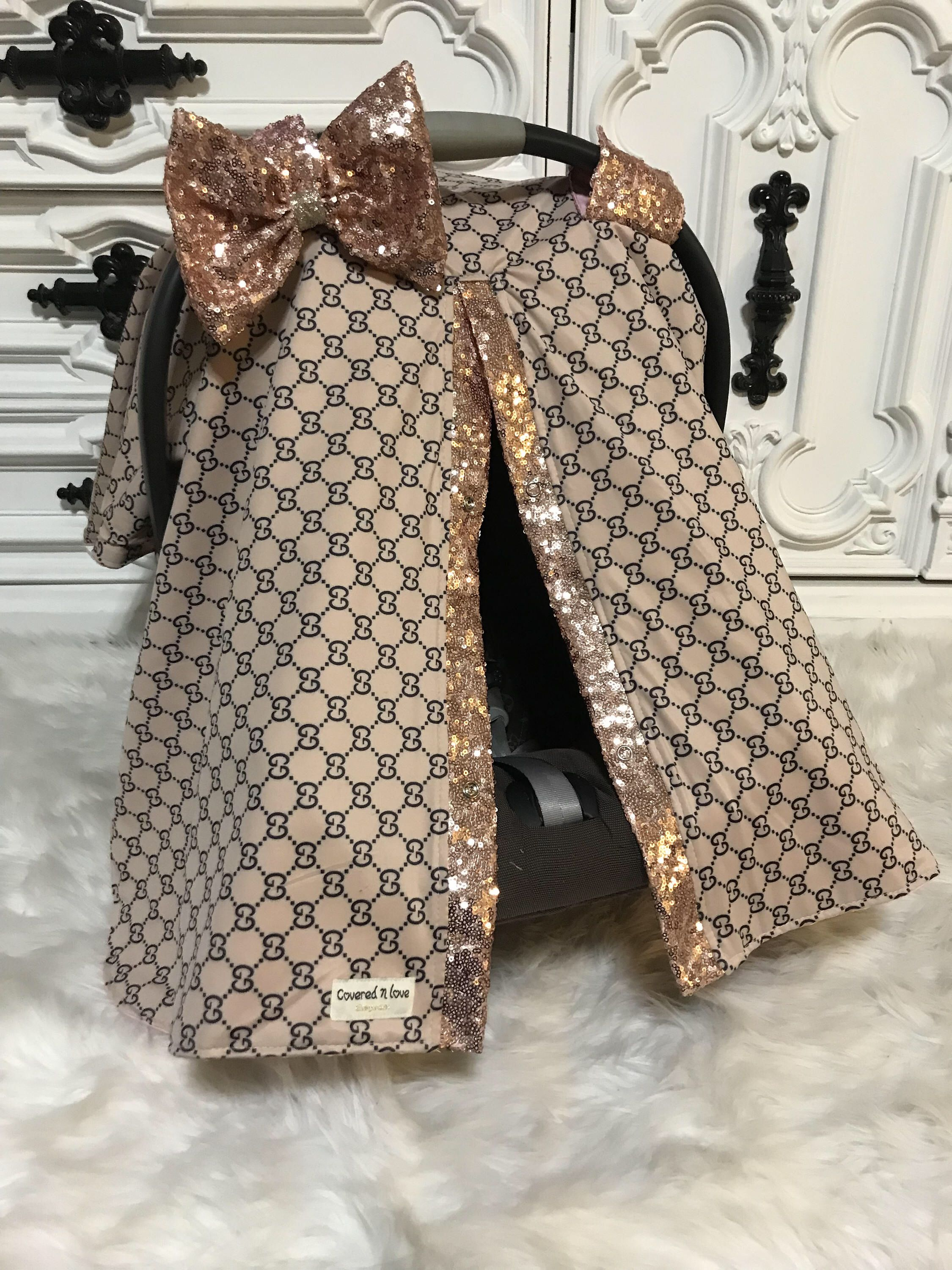 Car Seat Canopy Gucci Inspired Custom Jumbo BLING Bow Included