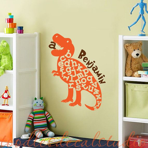 Alphabet Dinosaur Dino T Rex Tyrannosaurus Boys ABC Kids Vinyl Wall Decal  Sticker. $26.50,