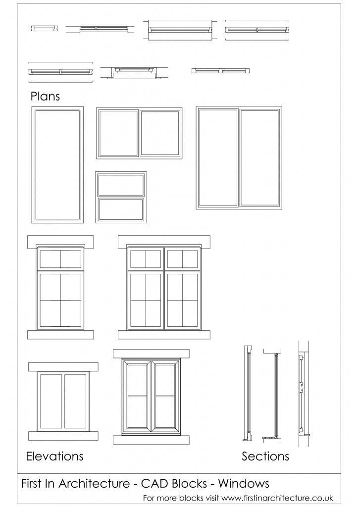 Cad Blocks Windows 01 Design Ergonomics Pinterest