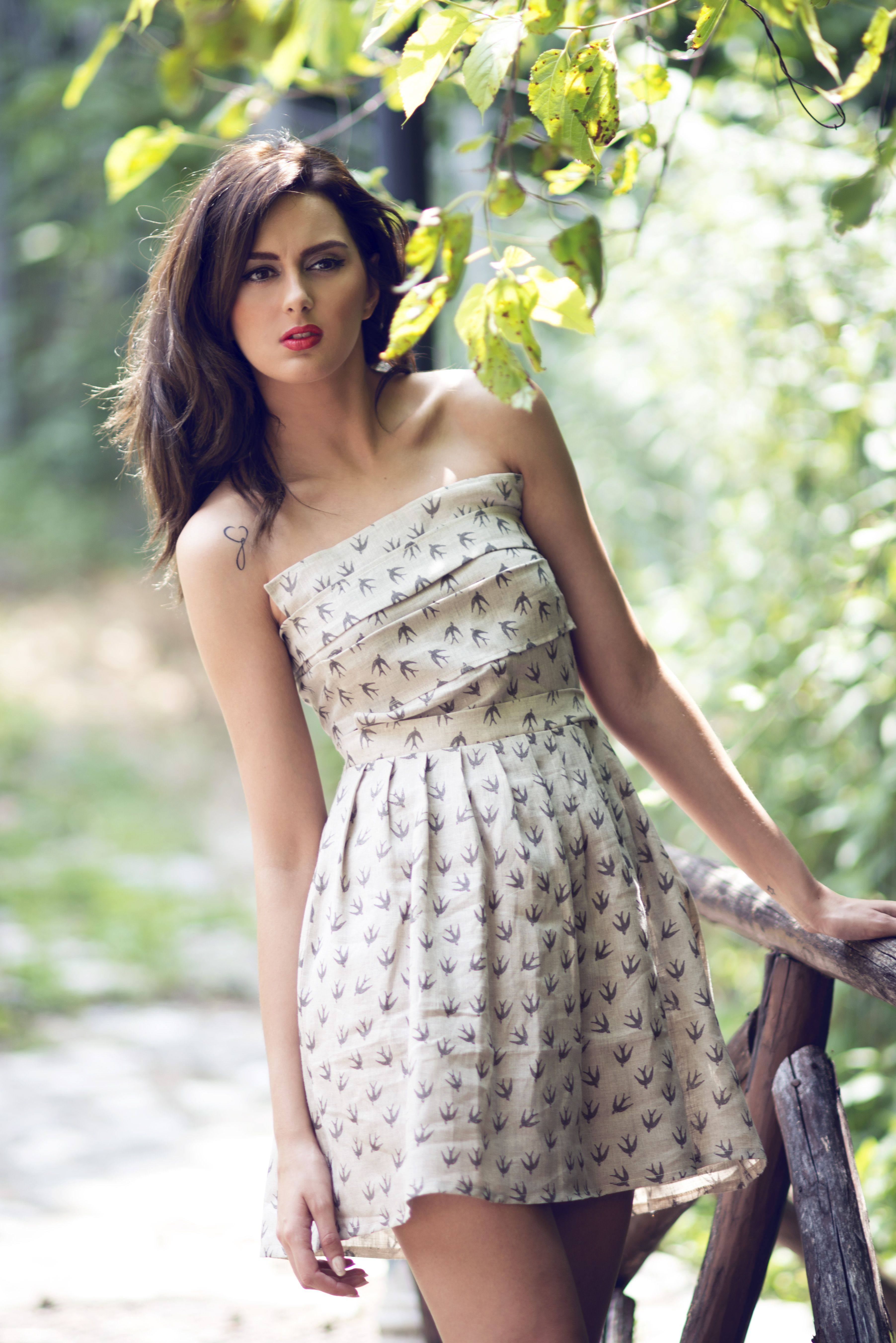 Kimolos dress 100% linen fabric with taupe printed swallows SS15 collection by MuMu organic www.mumusyros.gr