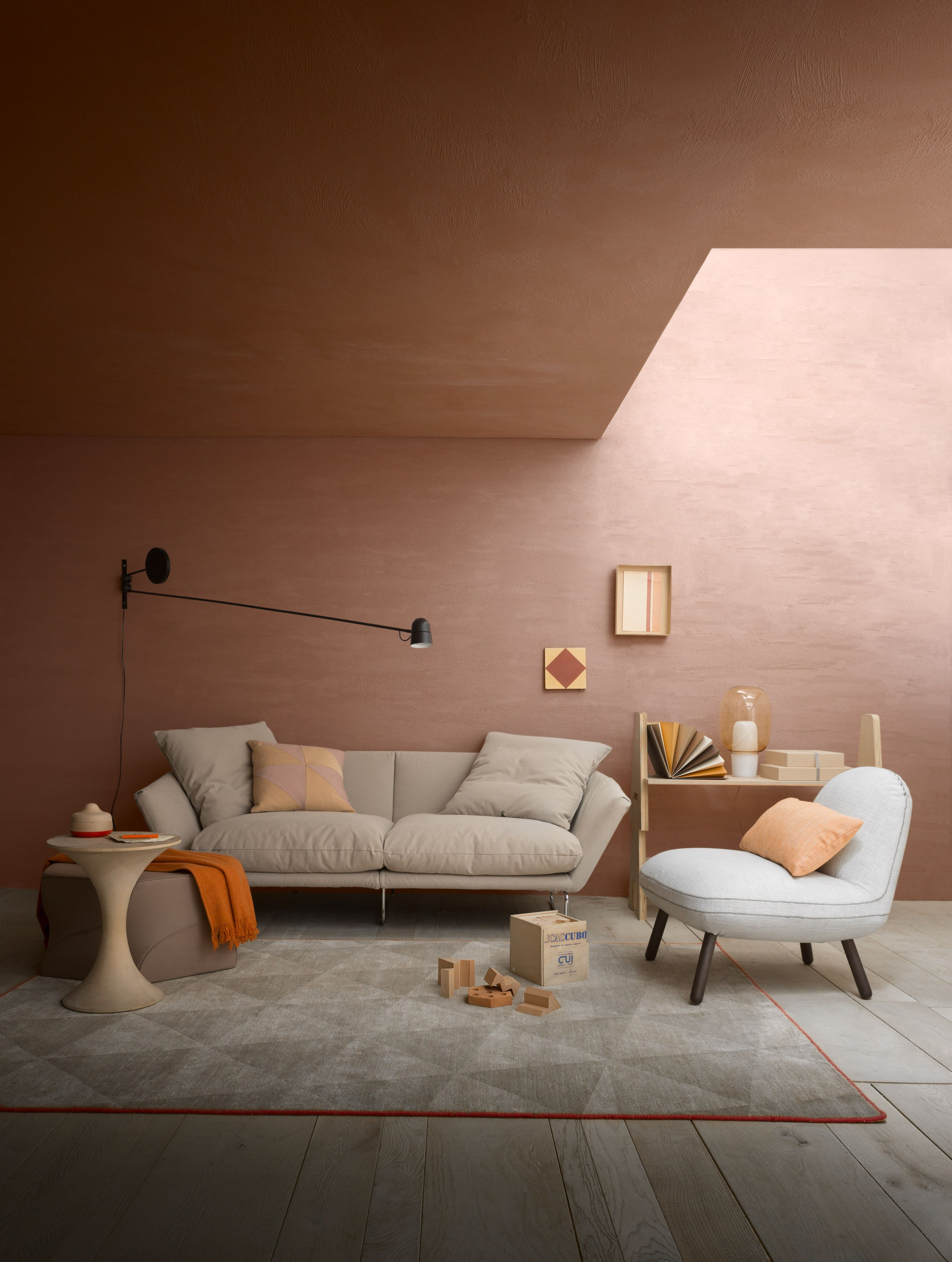 Home interior colors orange home  hearst  styling alessandra salaris photo beppe brancato