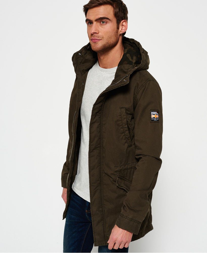 0a1aa8c872954 New Mens Superdry Classic Rookie Military Parka Coat Forest Khaki ...