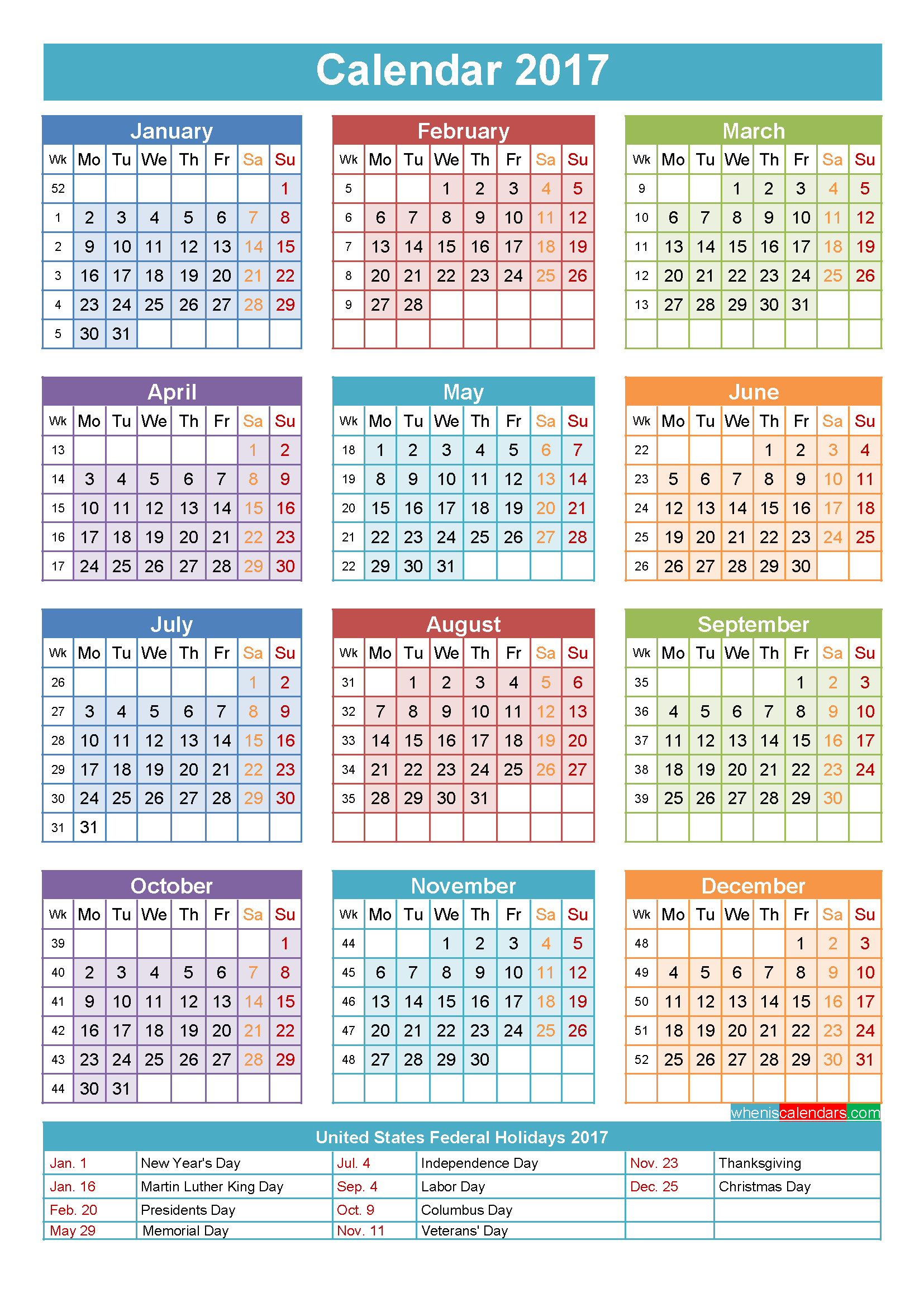 Weekly Year Calendar : Calendar with holidays printable yearly
