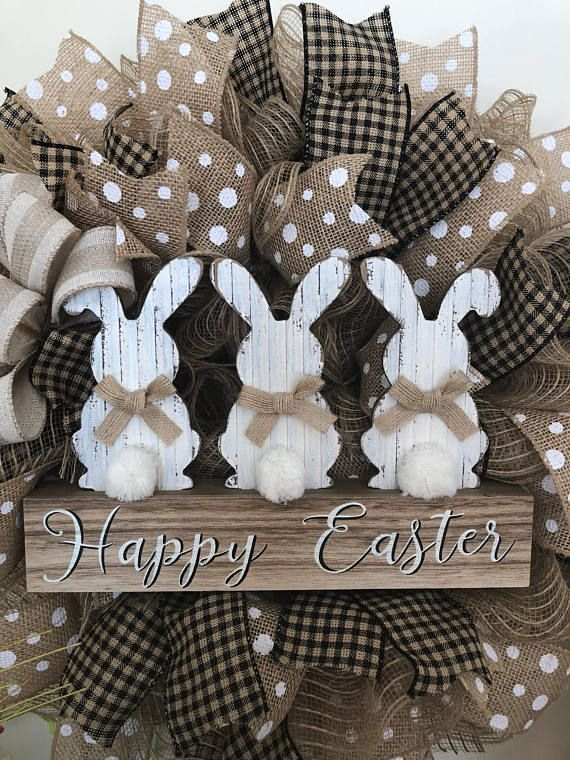 Photo of Easter Bunny Wreath- Burlap Deco Mesh- Bow color options available